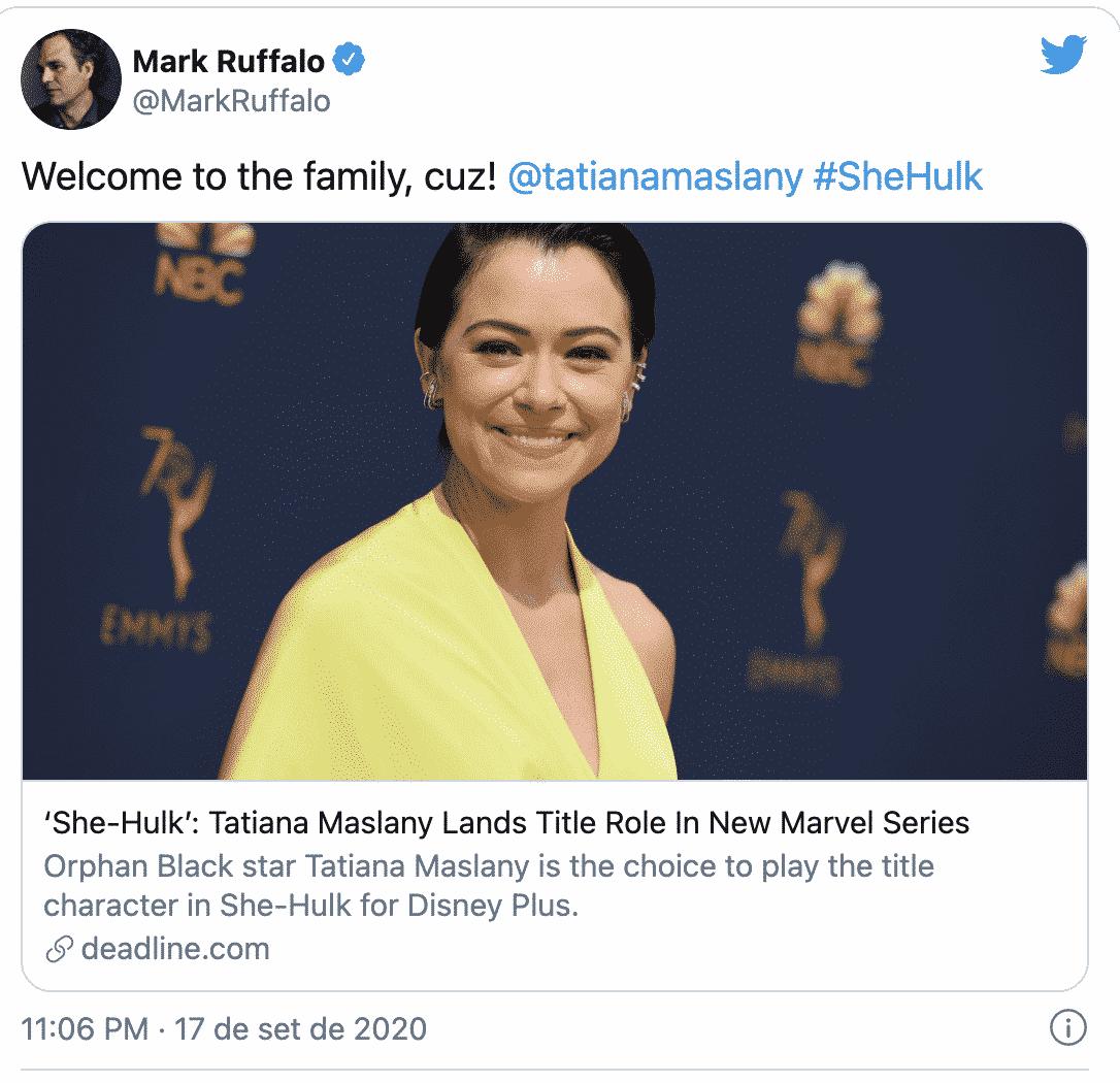 Hulk Woman est choisie ; l'actrice est accueillie par Mark Ruffalo 36